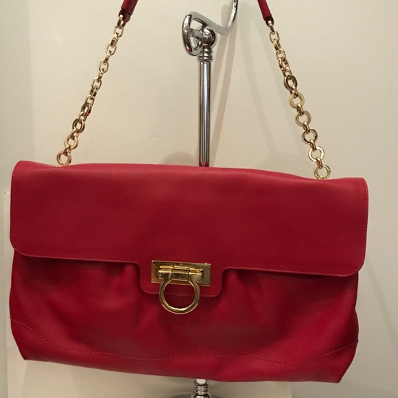 1092ba17eb New Ferragamo red leather chain strap shoulder bag. NWT. Salvatore Ferragamo